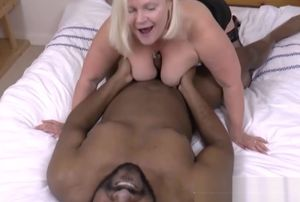 Blond  with huge udders gets unclothed..