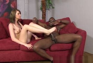 Teenage gives Big black cock sole job..