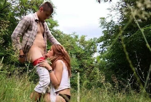 Public bj from sandy-haired teeny woman