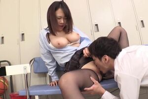 Stockings Manhandle in Classroom